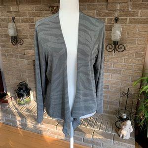Chicos Travelers Cardigan slinky Knit Metalic Grey
